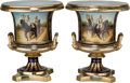 Ceramics & Porcelain, Continental:Other , A Large Pair of Empire-Style Campana Urns. Marks: (pseudo-Sevresmark), (indistinct signature). 19-3/8 inches high x 16 inch...(Total: 2 Items)