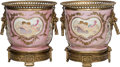 Ceramics & Porcelain, Continental:Other , A Pair of Sevres-Style Porcelain and Gilt Bronze Cache Pots, late 20th century. Marks: (pseudo Sevres marks). 10-7/8 inches ... (Total: 2 Items)