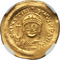 Ancients:Byzantine, Ancients: Justinian I the Great (AD 527-565). AV solidus (4.53gm).NGC MS 5/5 - 4/5, crimped....