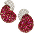 Estate Jewelry:Earrings, Ruby, Diamond, Gold Earrings, Massoni. ...