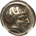 Ancients:Greek, Ancients: LESBOS. Mytilene. Ca. 412-378 BC. EL sixth stater orhecte (2.60 gm). NGC XF 4/5 - 5/5....