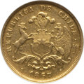 Chile, Chile: Republic gold 5 Pesos 1867-So XF40 Details (Cleaned)ANACS,...