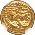 Ancients:Byzantine, Ancients: Heraclius (AD 610-641), with Heraclius Constantine. AVsolidus (4.41 gm). NGC Choice MS 4/5 - 5/5....