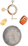 "Luxury Accessories:Accessories, Hermes Set of Four; Sterling Silver, Palladium & Gold Scarf Rings. I Square, 2005. Very Good to Excellent Condition. 2"" Wi... (Total: 4 )"