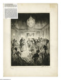 """Antiques:Posters & Prints, Walter Tittle Signed Etching """"Lady Washington's Levee"""". This fine art print is signed in the lower right by Tittle who has n..."""