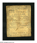 Colonial Notes:Continental Congress Issues, Continental Currency February 17, 1776 $1/3 Extremely Fine. Centervertical and lateral folds are found on this dark note....