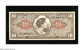 Military Payment Certificates:Series 641, Series 641 $10 Very Fine. This note from the Viet Nam conflict hasstaple holes at left. One of the staple holes has increas...