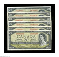 Canadian Currency: , BC-41b $20 1954.. These Fine or better Twenties are of the Modifiedportrait variety.. ... (Total: 6 notes)
