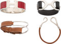 "Luxury Accessories:Accessories, Hermes Set of Four; Fauve Barenia, Fauve Bridle, Black Tadelakt Leather & Red Enamel Bracelets. Excellent Condition. 1"" Wi... (Total: 4 )"