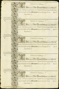 Colonial Notes:Maryland, Maryland 1733 20s Complete Sheet of Five Choice About New.. ...