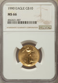 Modern Bullion Coins: , 1990 $10 Quarter-Ounce Gold Eagle MS66 NGC. NGC Census: (4/2388). PCGS Population: (6/1137). ...