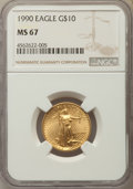 Modern Bullion Coins: , 1990 $10 Quarter-Ounce Gold Eagle MS67 NGC. NGC Census: (9/2379). PCGS Population: (30/1107). ...