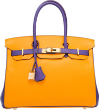 Hermes Special Order Horseshoe 30cm Jaune d'Or & Iris Epsom Leather Birkin Bag with Gold Hardware Q Square, 201