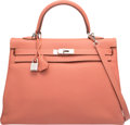Luxury Accessories:Bags, Hermes 35cm Rose Tea Clemence Leather Retourne Kelly Bag withPalladium Hardware. Q Square,2013. ExcellentCondition...