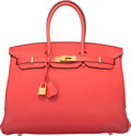 """Luxury Accessories:Bags, Hermes 35cm Bougainvillea Clemence Leather Birkin Bag with GoldHardware. R Square, 2014. Very Good Condition.14""""..."""