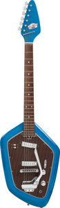 Musical Instruments:Electric Guitars, Circa 1970 Teisco Del Rey Blue EV-2T Solid Body Electric Guitar....