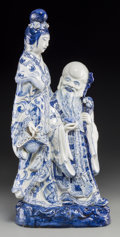 Asian:Chinese, A Chinese Blue and White Porcelain Figural Group of Shoulao andMagu, 20th century. 25 inches high (63.5 cm). ...