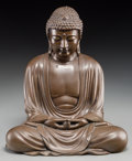 Asian:Japanese, A Japanese Copper Alloy Seated Buddha Figure. 10-1/8 inches high(25.7 cm). ...