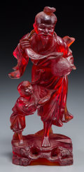 Asian:Chinese, A Chinese Cast Resin Figure of a Fisherman and Boy. 9 inches high(22.9 cm). ...