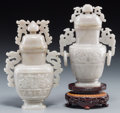 Asian:Chinese, Two Chinese Carved Hardstone Covered Urns. 7 inches high (17.8 cm)(taller, vase). ... (Total: 2 Items)