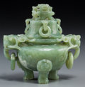 Asian:Chinese, A Chinese Carved Bowenite Tripod Censer. 5-1/4 h x 5-1/4 w x 3-1/2d inches (13.3 x 13.3 x 8.9 cm). ...