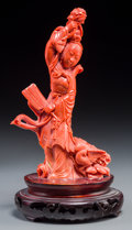 Asian:Chinese, A Chinese Finely Carved Coral Court Lady with Stand. 7-5/8 incheshigh (19.4 cm) (without stand). 434 grams . ...