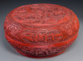 Asian:Chinese, A Chinese Carved Lacquer Covered Box. 7 inches high x 14-1/4 inchesdiameter (17.8 x 36.2 cm). ...