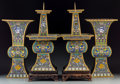 Asian:Chinese, A Four-Piece Chinese Cloisonné Garniture Set. 19-1/4 inches high(48.9 cm) (pricket). ... (Total: 4 Items)