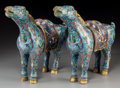 Asian:Chinese, A Pair of Chinese Cloisonné Horses. 11-1/2 inches high x 14-1/2inches long (29.2 x 36.8 cm). ... (Total: 2 Items)