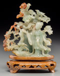 Asian:Chinese, A Chinese Carved Jadeite Figural Covered Urn with Stand. 6 incheshigh (15.2 cm) (including stand). ...