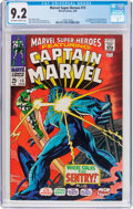 Silver Age (1956-1969):Superhero, Marvel Super-Heroes #13 Captain Marvel (Marvel, 1968) CGC NM- 9.2Off-white to white pages....