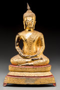 Asian:Chinese, A Large Thai Gilt and Lacquered Bronze Seated Buddha Figure. 24-1/2inches high (62.2 cm). ...