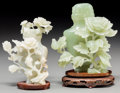 Asian:Chinese, Two Chinese Carved Jade and Bowenite Floral Covered Urns withStands. 6 inches high (15.2 cm) (taller, without stand). ...(Total: 3 Items)