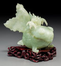 Asian:Chinese, A Chinese Carved Bowenite Goldfish-Form Box. 5-3/4 inches high(14.6 cm). ...