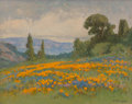 Paintings, William Franklin Jackson (American, 1850-1936). California Poppy Field, 1930. Oil on canvas. 8 x 14 inches (20.3 x 35.6 ...