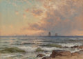 Fine Art - Painting, American, Alfred Thompson Bricher (American, 1837-1908). Sails atSunset. Watercolor on paper laid on board. 20 x 28 inches (50.8...