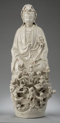 Asian:Chinese, A Chinese Blanc-de-Chine Porcelain Guanyin with Boys Figural Group.28 inches high (71.1 cm). ...