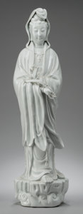 Asian:Chinese, A Chinese Blanc-de-Chine Porcelain Guanyin Figure. 26 inches high(66.0 cm). ...