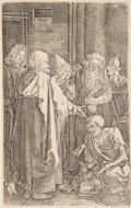 Fine Art - Work on Paper, After Albrecht Dürer. St. Peter and St. John Healing the Cripple (from The Engraved Passion series) (reversed). Engravin...