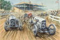 Fine Art - Work on Paper:Watercolor, Michael Wright (b. 1935). All-American Automobile Race.Watercolor on paper. 28 x 41-1/2 inches (71.1 x 105.4 cm). Signe...