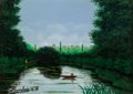 Fine Art - Painting, European:Modern  (1900 1949)  , Camille Bombois (French, 1883-1970). Fishing at the Lake.Oil on canvas. 6-1/2 x 8-3/4 inches (16.5 x 22.2 cm). Signed l...