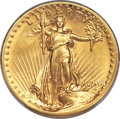 High Relief Double Eagles, 1907 $20 High Relief, Flat Rim, MS64 PCGS....