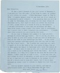 Books:Manuscripts, T. S. Eliot. Collection of Thirteen Typed Letters, Signed, Writtento His Niece, Priscilla Talcott (later Fourcher). [Variou...