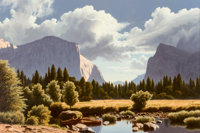 James Fetherolf (American, 1925-1994) Valley Guardians II Oil on canvas 24 x 36 inches (61.0 x 91
