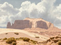 Fine Art - Painting, American, James Fetherolf (American, 1925-1994). Navajo Landscape. Oilon canvas. 12 x 16 inches (30.5 x 40.6 cm). Signed lower ri...