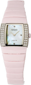 Estate Jewelry:Watches, Rado Lady's Diamond, Mother-of-Pearl, Ceramic, Stainless Steel,Titanium Sintra Jubilé Watch. ...