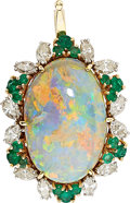 Estate Jewelry:Pendants and Lockets, Opal, Diamond, Emerald, Gold Pendant . ...