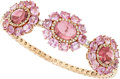 Estate Jewelry:Bracelets, Pink Tourmaline, Pink Sapphire, Diamond, Rose Gold Bracelet . ...