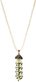 Estate Jewelry:Necklaces, Cultured Pearl, Emerald, Diamond, Gold, Silver Necklace. ...