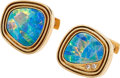 Estate Jewelry:Cufflinks, Opal Doublet, Diamond, Gold Cuff Links . ...